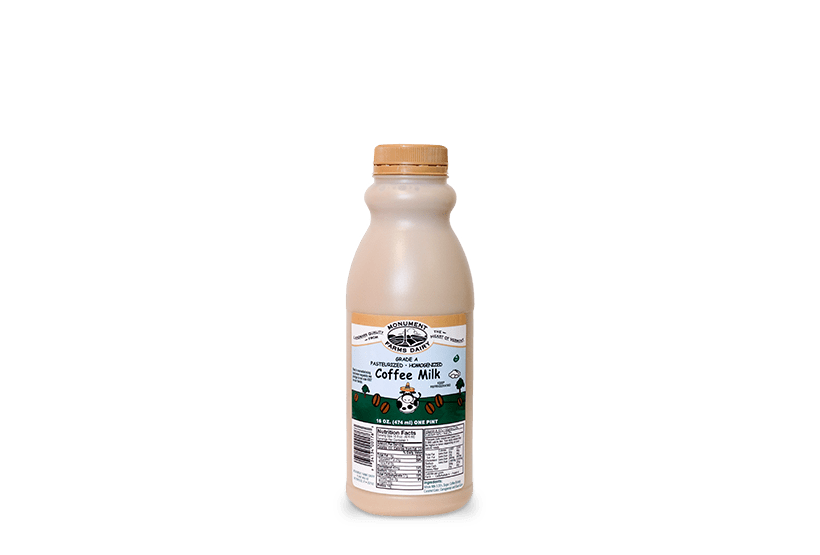 A pint of Monument Farms local coffee milk.