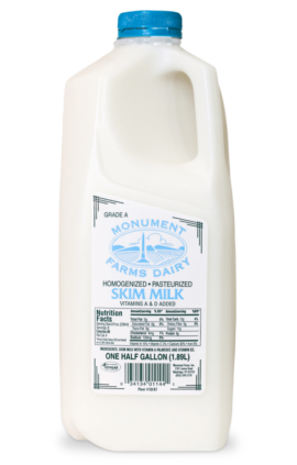 A half gallon of Monument Farms local skim milk.