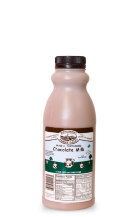 A pint of Monument Farms local chocolate milk.