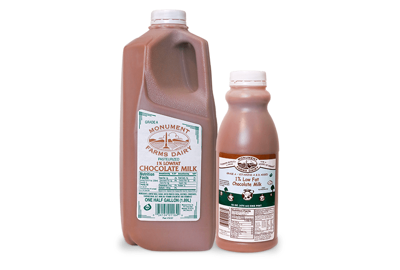 A pint and half gallon of Monument Farms 1% local chocolate milk.