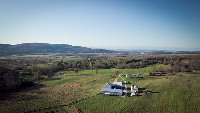 An aerial view of Monument Dairy Farm where they produce fresh Vermont milk